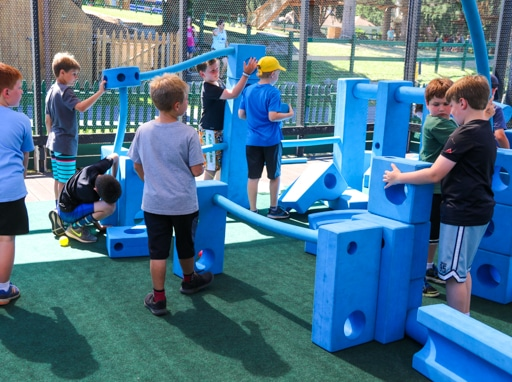 Campers playing on the playground